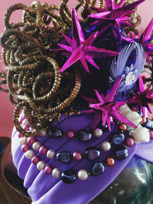 Bespoke Floral Vintage Hat / Turban - purple , gold, beaded