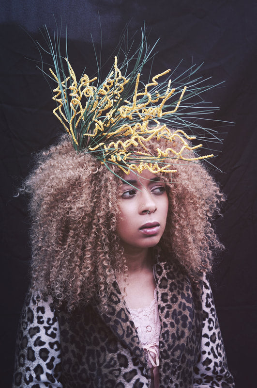 wild spiral stem orange and green pagan inspired side headpiece / costume / nature