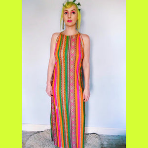 Vintage Psychedelic print 70s maxi Hippy Dress