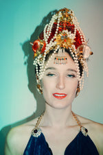 Red Crown Headdress - Fascinator - Costume - Burlesque