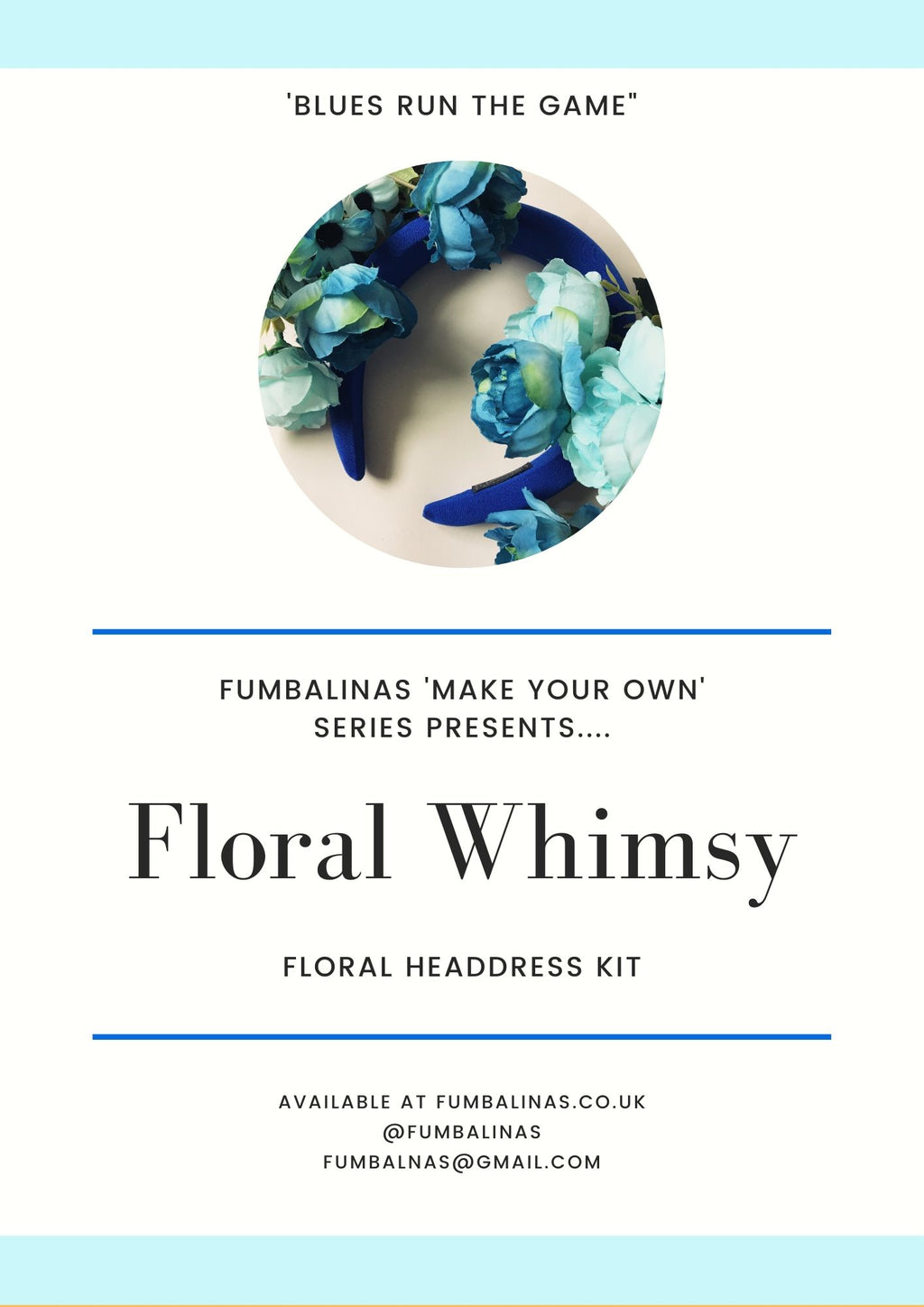 """Floral Whimsy"" 'Blues Run the Game' Vintage Floral Headdress Kit and Tutorial"