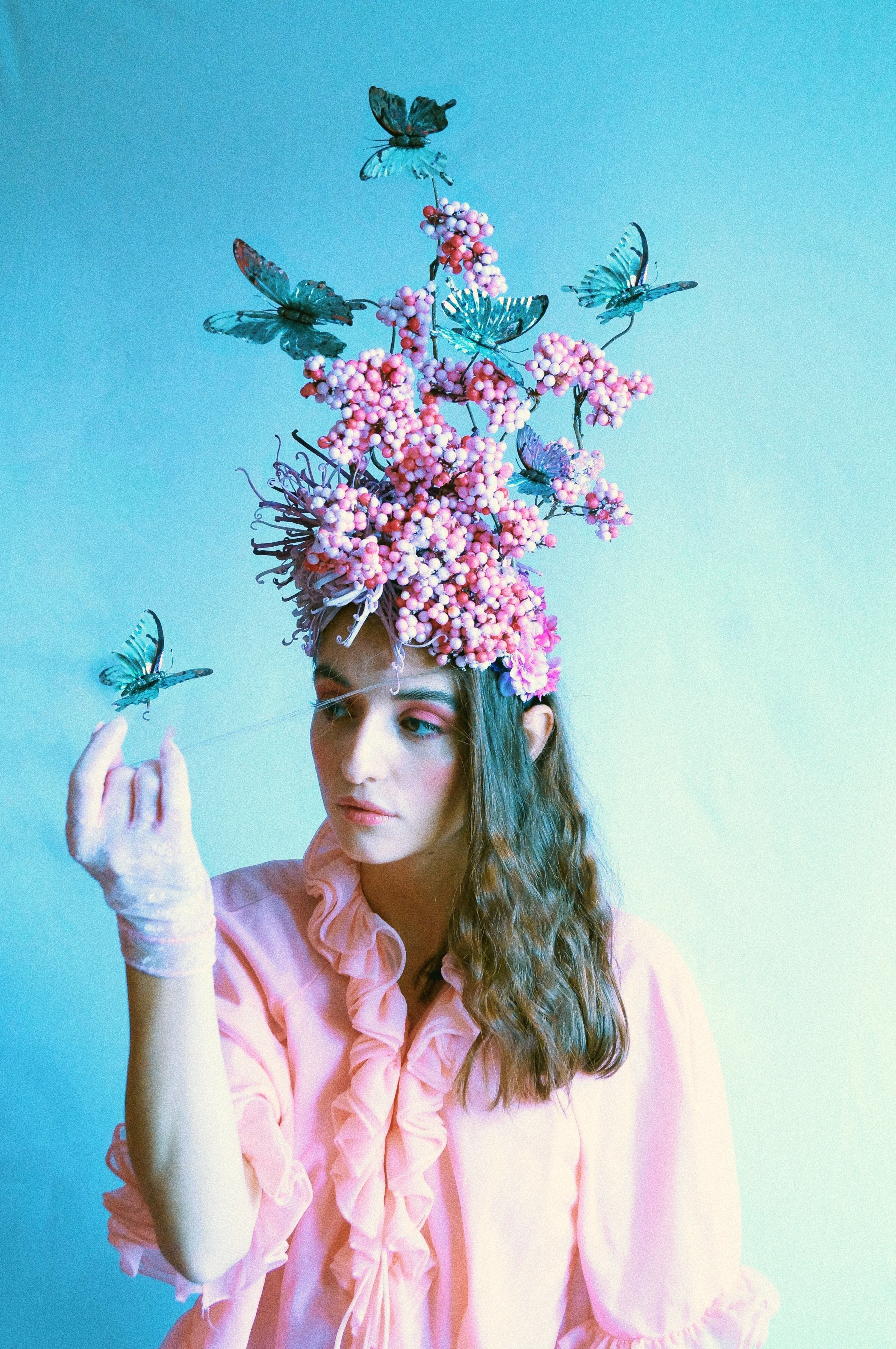 Pink and Silver Butterfly Headpiece