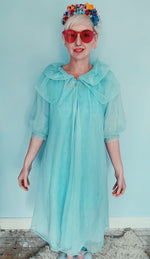 Pale blue vintage dress / negligee / lingerie / nighty / sheer