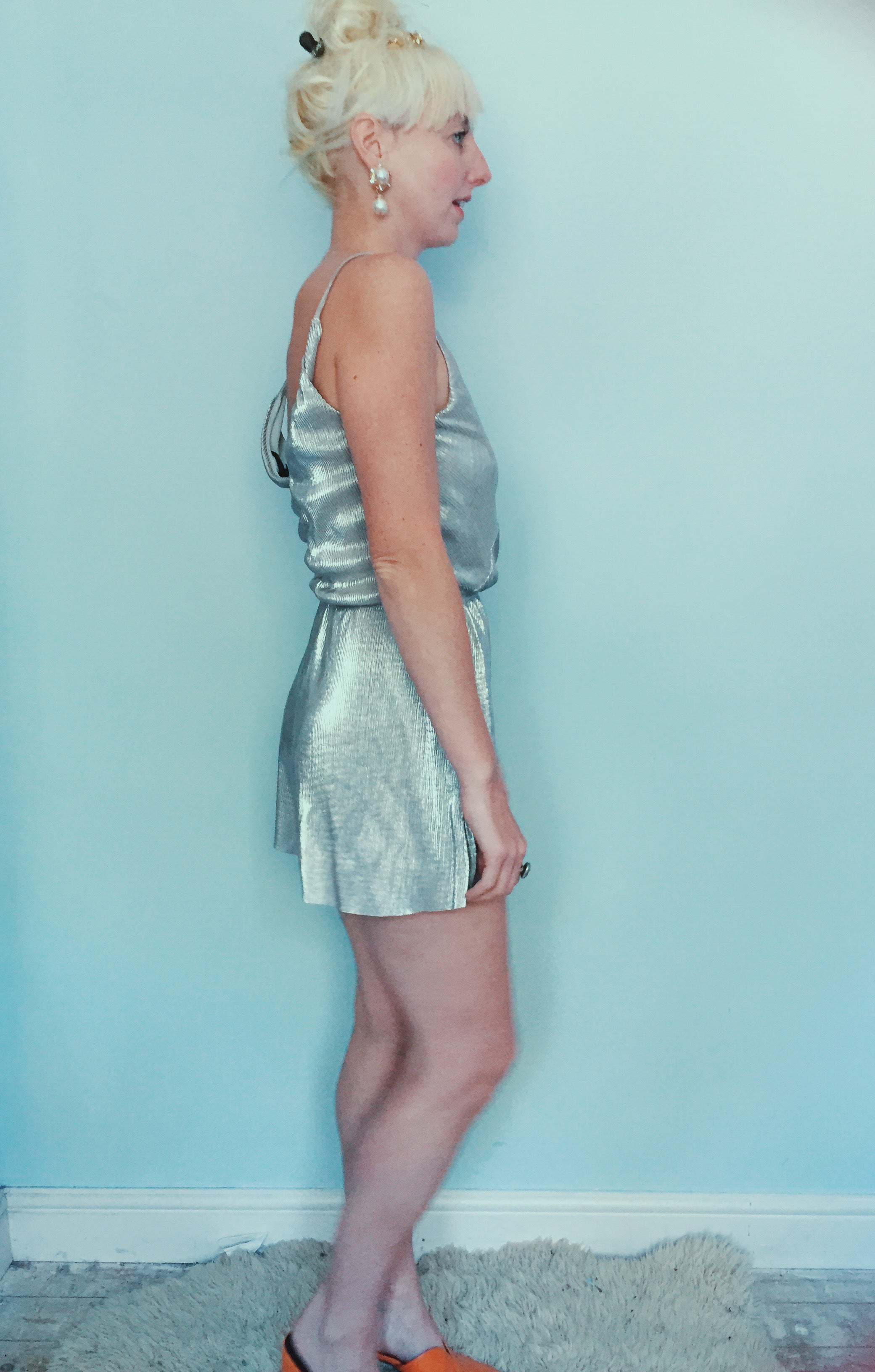 Silver Playsuit - size 8, small
