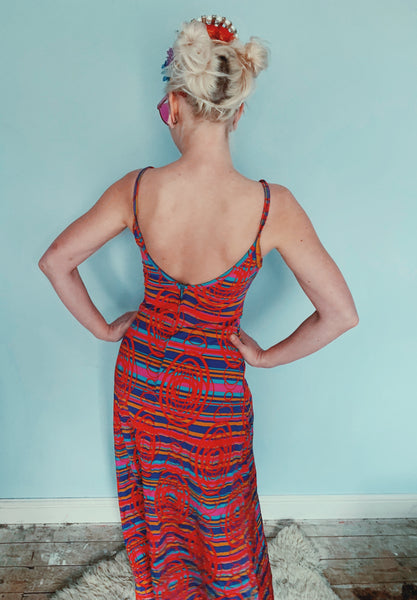 Lycra Patterned swimsuit - 70s - 8os - vintage maxi dress - size 8-10