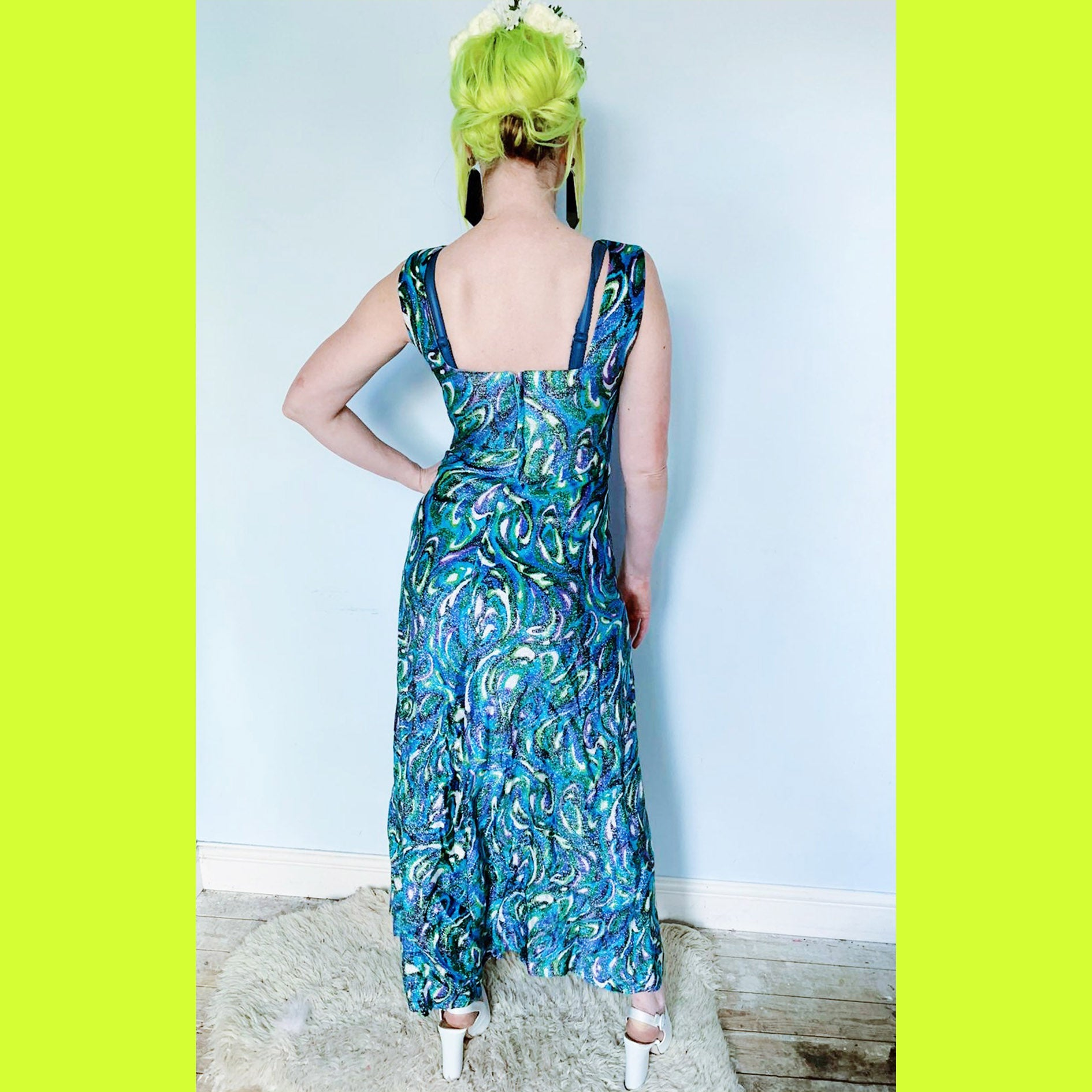 Vintage 60s / 70s metallic print psychedelic maxi dress