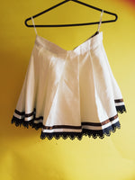 Vintage brown and white pleats and bows two piece