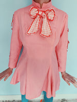 vintage 60s mini dress pink  - bow - cute - short - size small / 8
