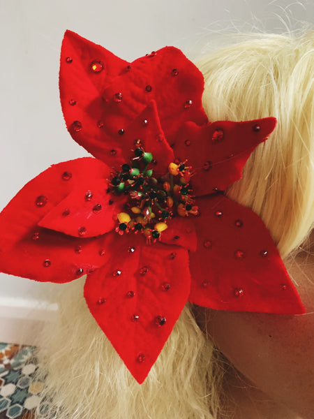 Pair of Jewelled Poinsettia Hair Clips *Order before 18th for Christmas post*