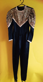 Vintage Black and gold sequin jumpsuit 80s
