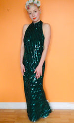 Vintage Deep Emerald Green Sequin beaded Dress