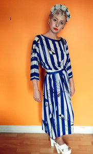 Vintage blue and white striped Dress - 8-12