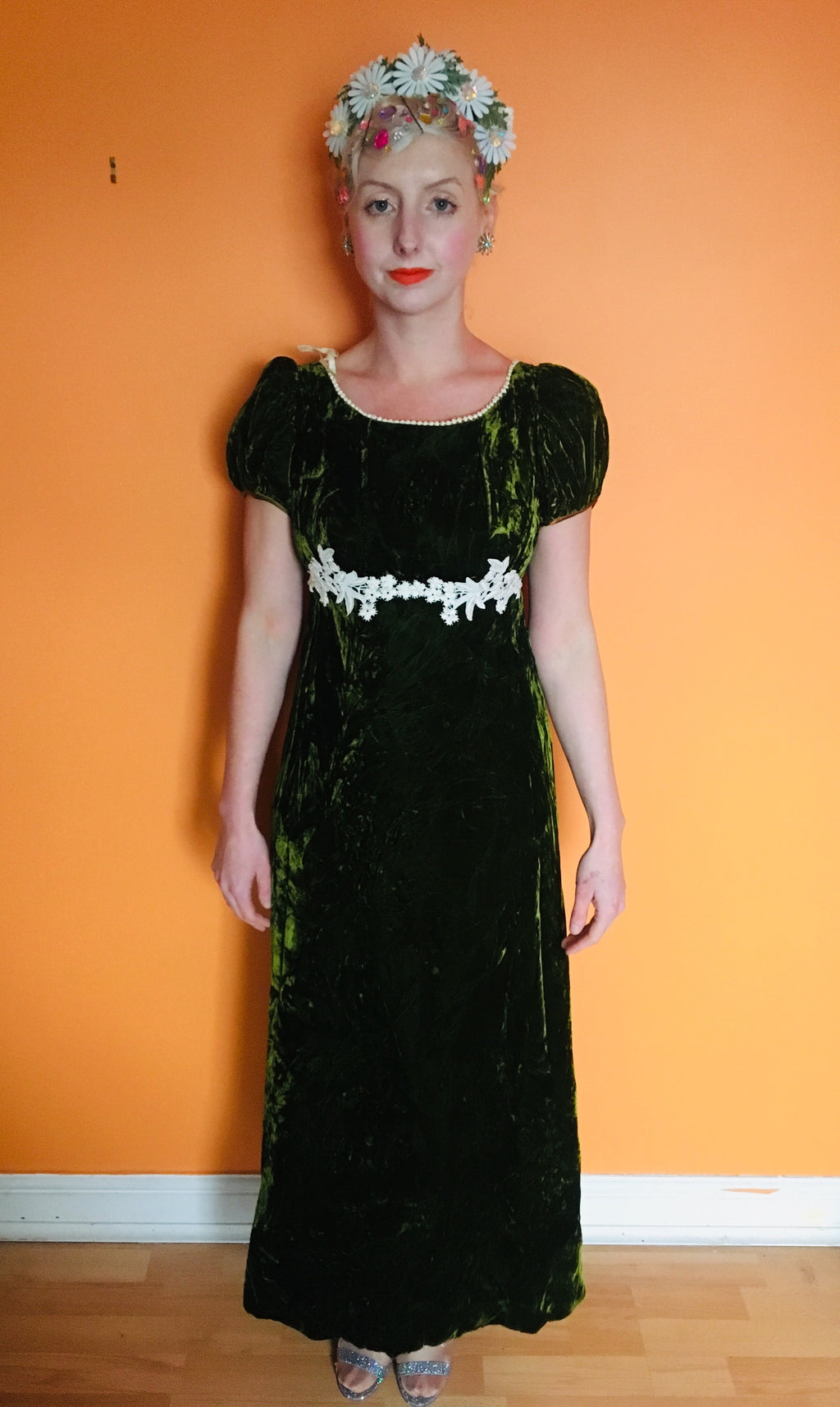 Velvet Vintage green long fitted Dress
