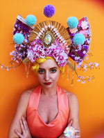 Giant Geisha Pom Pom Fan Headdress