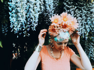 60s pink Daisies flower crown