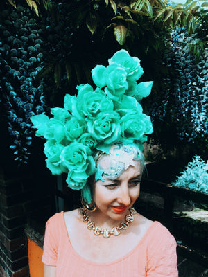 Pastel Roses Headdress, blue, yellow, green, peach