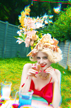 Vintage Peach flower Headpiece / Fascinator