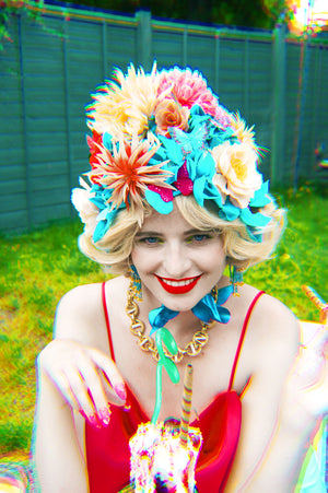 Vintage inspired Floral Flower Bonnet /hat