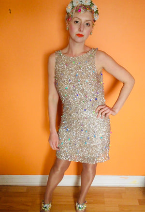 Iridescent Vintage sequin holographic mini-dress