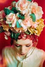 Bespoke peach and green rose flower Crown