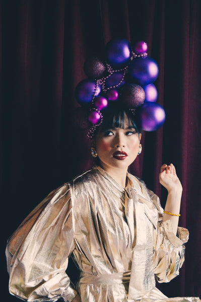 Purple Christmas baubles Headdress