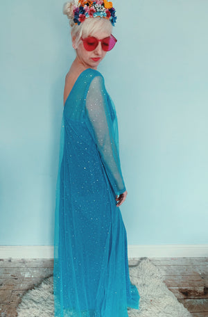 Elsa - Frozen - Blue glitter shimmer Dress