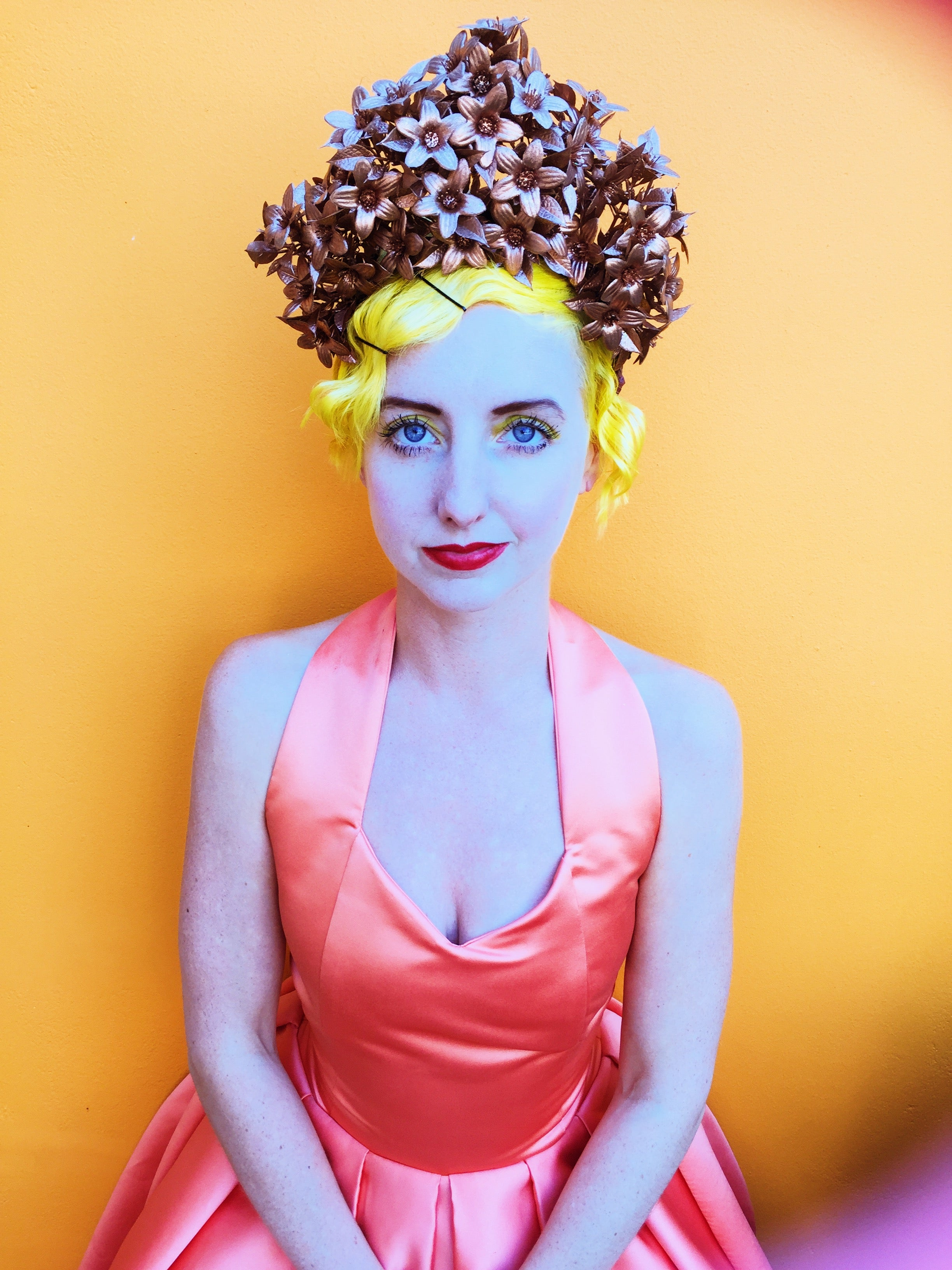 Bronze Metallic flowers crown headpiece