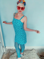 90s flower mini dress - blue