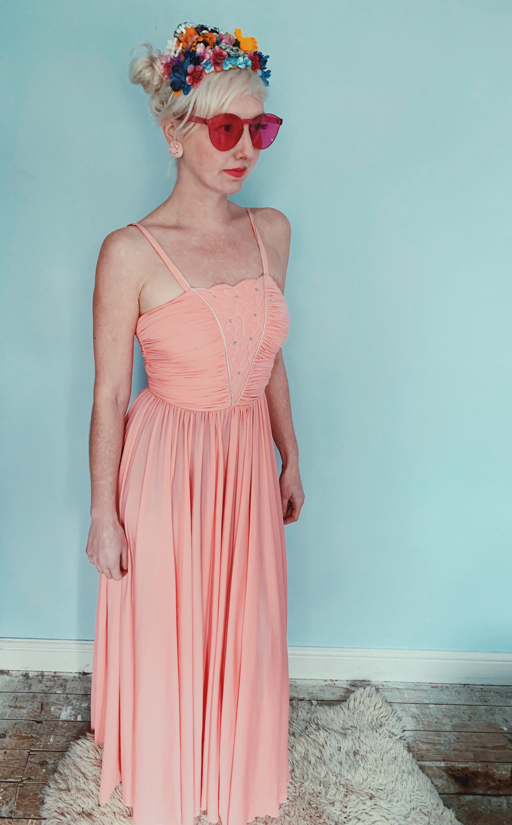 Vintage long pink silver princess prom dress - XS - Extra Small 70s / seventies / ruffle