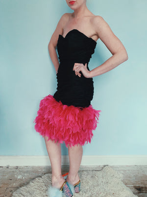 Vintage hot pink feather black Dress 10