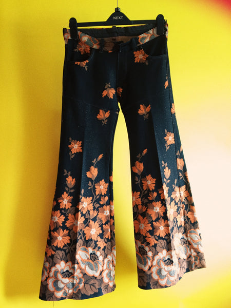 Vintage 70s brown and orange flares