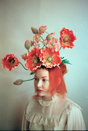Flower Crown, Headdress, orange, Poppies,