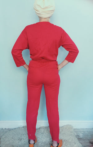 Vintage 80s hot pink jumpsuit