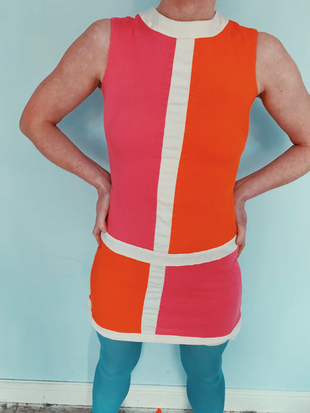 vintage 60s mini dress orange pink cute