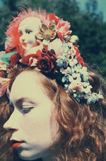 1920s Multicoloured floral doll bejewelled feather headdress