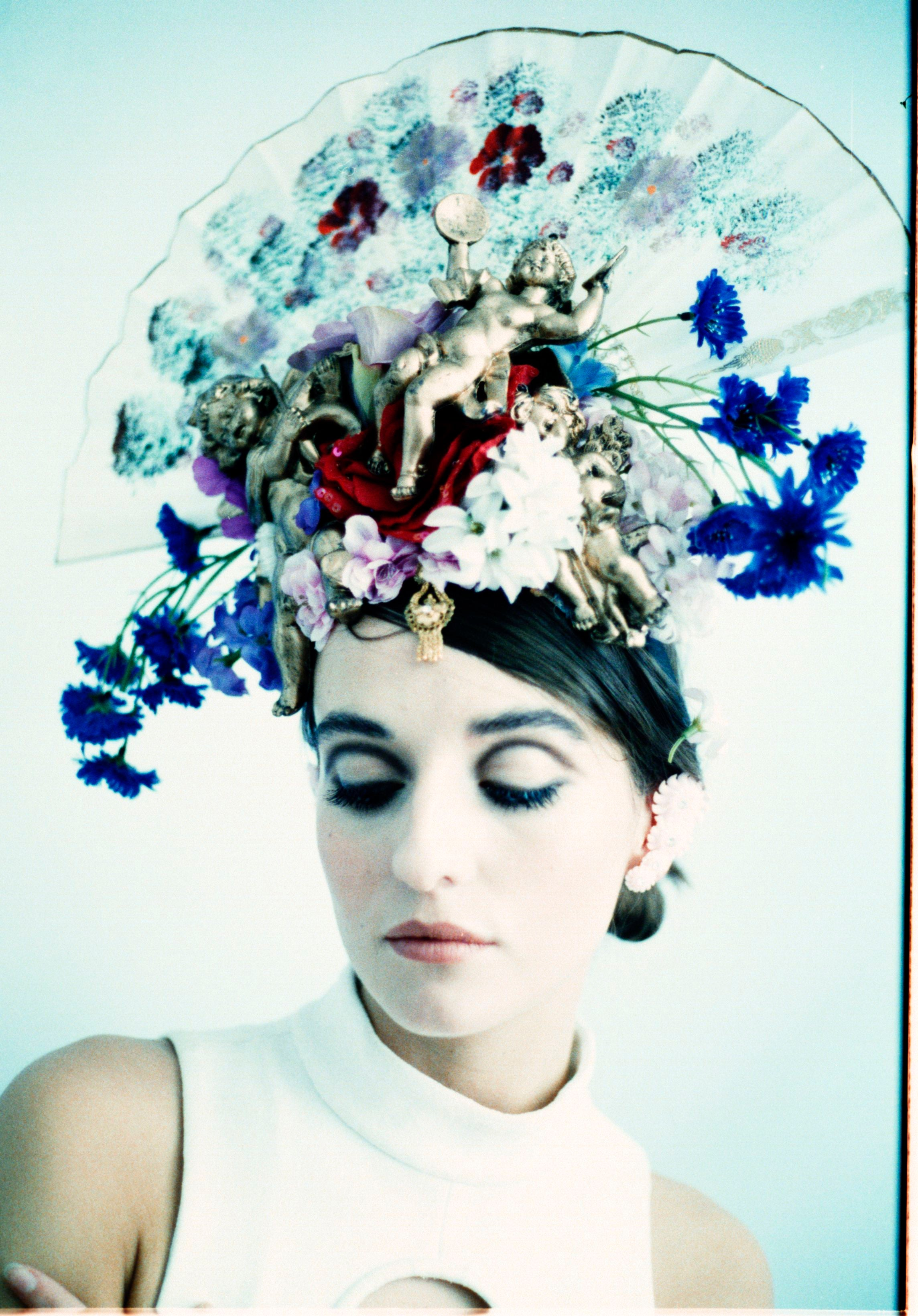 Geisha inspired Fan flower crown