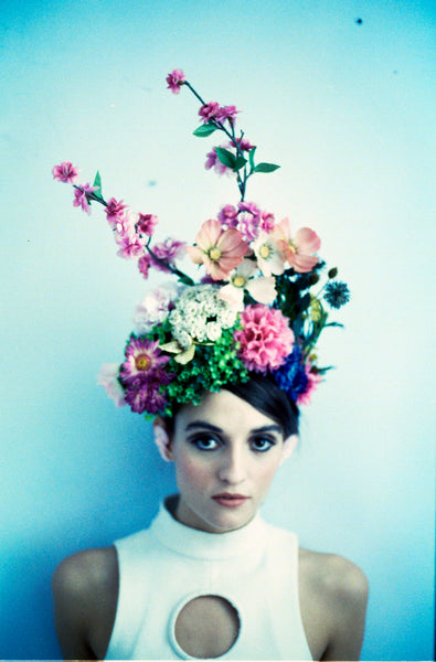 Multicoloured Alice garden flower crown