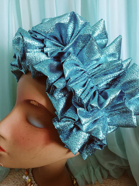 Sky Blue Metallic Lame Ruffle Party Headband *NEW YEAR DELIVERY*