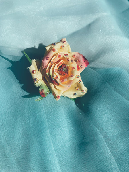 Yellow/Cream Heart Tea Rose Bejewelled Brooch