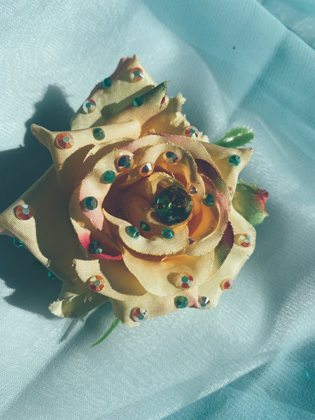 yellow/cream Bejewelled Rose Bejewelled Brooch