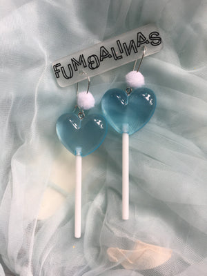 Super cute Love heart Earrings with pom poms 9cm