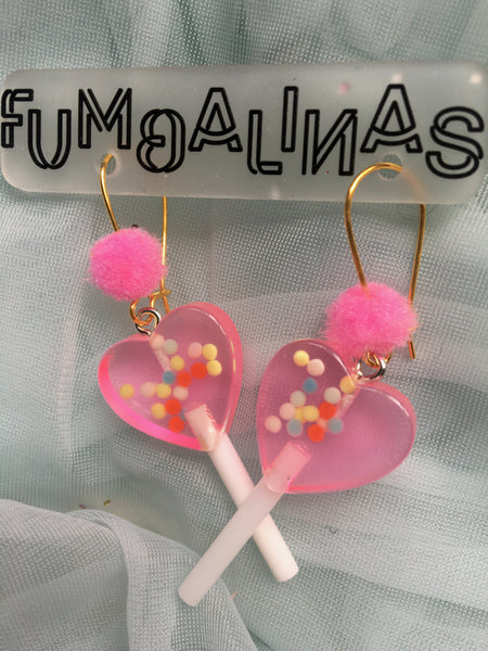 Super cute Love heart Earrings with pom poms Small