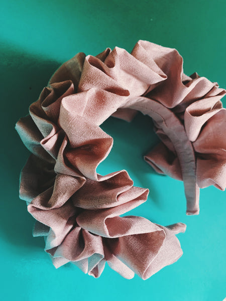 Lilac Silk Ruffle headband - matte finish - FULL style