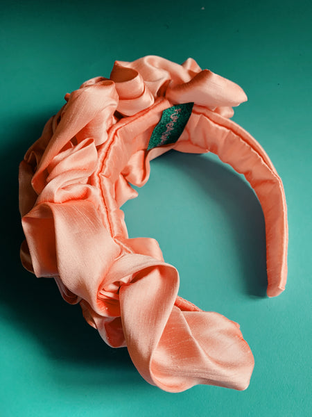 Peach Silk Ruffle headband - Shine-Sheen finish - ASYMMETRICAL style