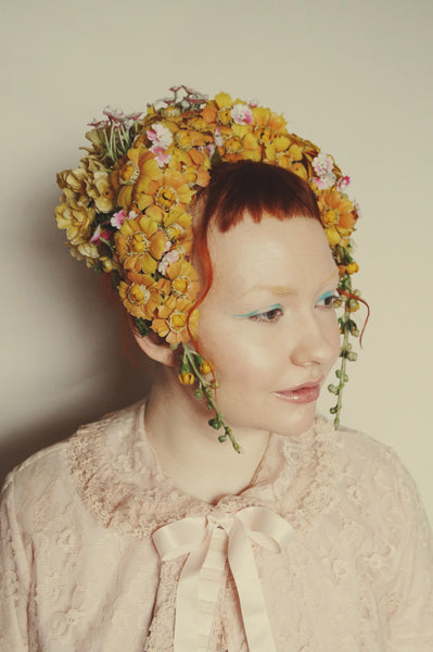 Vintage Flower Bonnet, Reversible Flower Crown,