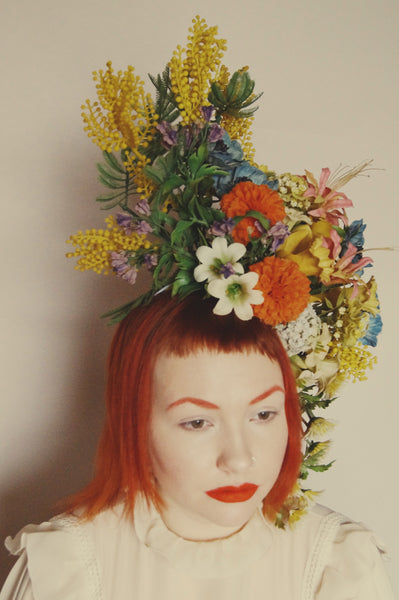 Vintage Flower Crown, wild Flower Mix