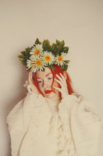 Vintage White Daisy May Day May queen flower crown