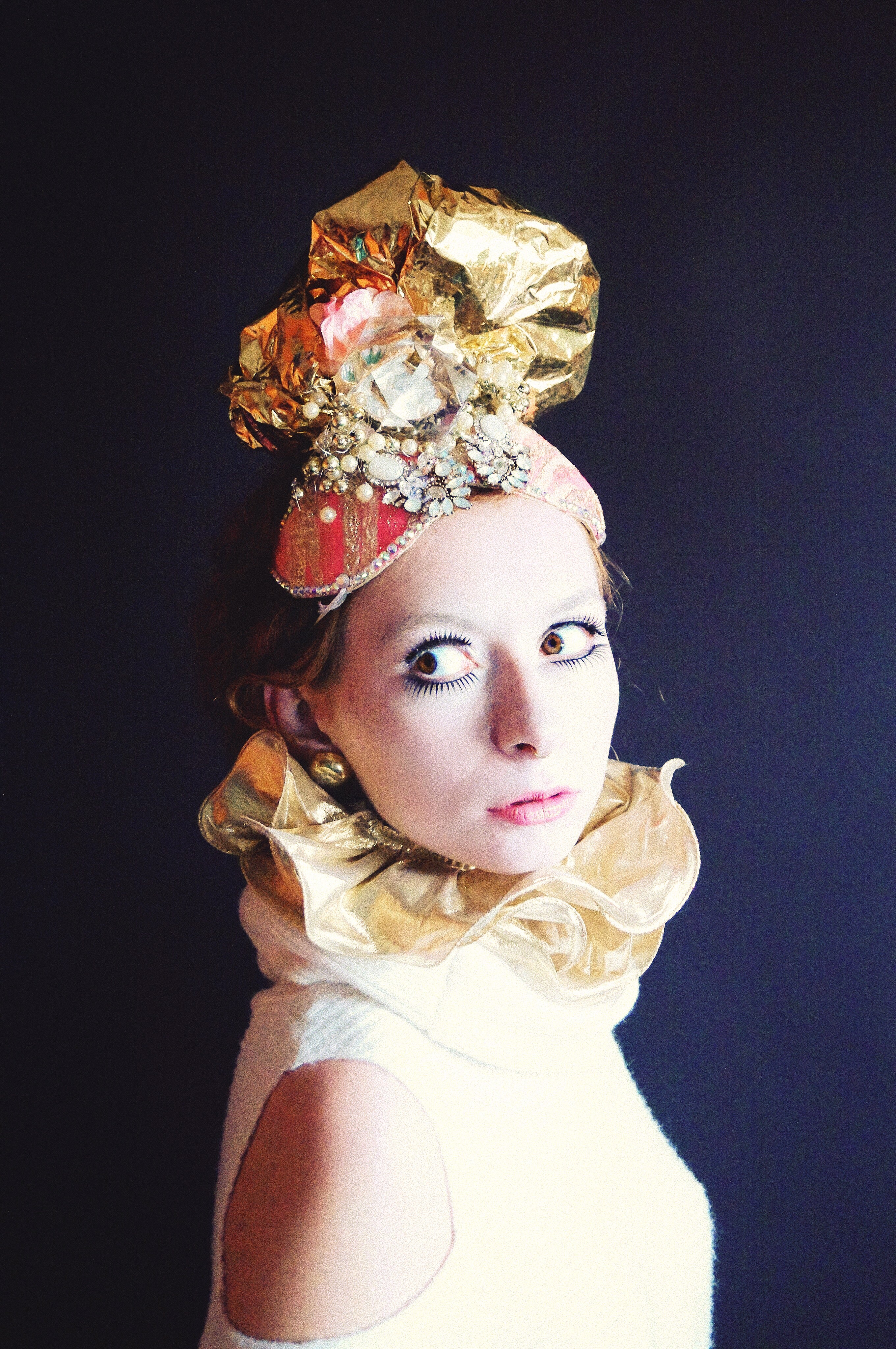 Pink and Gold Turban Headdress