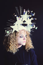 Iridescent silver star vintage sequin spray headdress - burlesque - cirque - costume