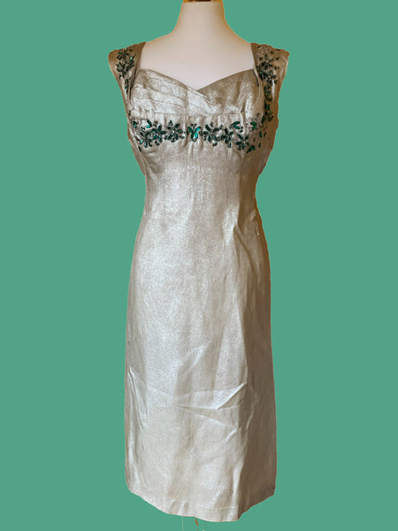 50s Silver Lame showgirl DRESS WITH bustle